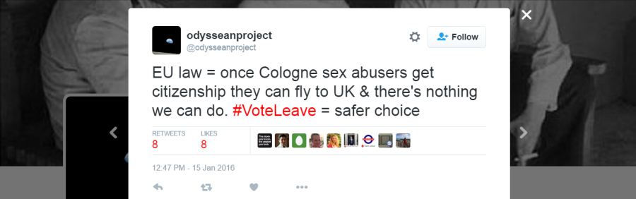 Vote Leave campaign director Dominic Cummings's tweet about Cologne (odysseanproject is Cummings' twitter account)